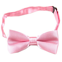 Wholesale Boys Pink Neck Ties - Wholesale- New boys Children kids Solid Bowtie Pre tied Wedding Groom Party Pink Bow Tie BC06