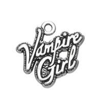 Wholesale Vampire Bracelet Charms - Rhodium Plated Jewelry Words Vampire Girl Charm Letter Fashion Pendant For DIY Necklace&Bracelet