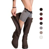 Wholesale Stylish Clothes For Women - Wholesale- Stylish Winter Women Knitting Brief Paragraph Contrast Color Button Leg Warmers Socks Boot Cover for lady r Clothes