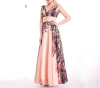 Wholesale Long Night Gown Xl Cotton - Deep V Neck Floral Formal Dresses Chiffon Robe De Soiree Party Gowns 2017 Sexy Backless Flower Long Evening Dress 4styles