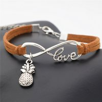 Wholesale Pineapple Antiques - Wholesale- Creative Hawaii Beach Sexy Personality Unique Design Antique Silver Pineapple Charms Pendant Bracelet Love Gift Infinity Jewelry