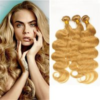 Fresas Indias Baratos-# 27 Honey Blonde Indian Virgin Hair 3 Bundles Ondas del cuerpo Extensiones de cabello humano Strawberry Blonde Indian Hair Extensions Dhl Gratis