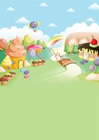 Wholesale Spray Icing Cake - Kids Cartoon Background Blue Sky Clouds Ice Cream House Lollipop Baby Newborn Birthday Party Cakes Candy Land Backdrop for Photography