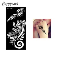 Wholesale Ladies Body Products Wholesale - Wholesale-1 Piece Hollow Henna Tattoo Stencil Black Color Flower Henna Paste Drawing Lady Body Hand Art Tattoo Stencil Sexy Product S2120