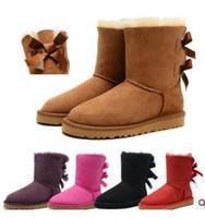 vendas de botas de couro venda por atacado-2017 VENDA QUENTE Nova Moda Austrália clássico baixo inverno botas de couro real Bailey Bowknot mulheres bailey bow botas de neve