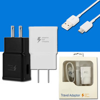 Wholesale C Prime - For Samsung Galaxy S8 Note 8 S7 Adaptive Fast Charging Wall Travel Charger US EU UK Adapter Type C Micro USB Data Cable For J7 prime 2017