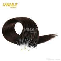 Wholesale Cheap Bead Hair Extensions - Cheap 7A Brazilian micro loop human hair extensions 100g micro beads weft hair extensions straight pure color micro beads weft hair weaves