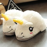 Wholesale Plush White Unicorn - Hot Sale Unisex Winter Unicorn Cotton Home Warm Slippers Chausson Licorne Indoor Christmas Slippers Shoes