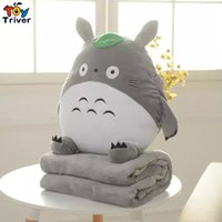 Wholesale Totoro Plush Sofa - Wholesale- Cute Cartoon Totoro Cat Coral Fleece Air-Condition Sofa Office Nap TV Travel Portable Blanket Toy Hand Warmer Triver Toy