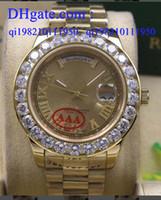 18 mens relógio de diamantes venda por atacado-2017 de alta qualidade de ouro dial mens data-dia 2 ii 18 k 41mm presidente ouro amarelo maior relógio de diamantes