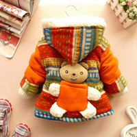 Wholesale Girls Coat Bohemia - Hot Sale Hot 2017 Baby Girl Cute 3D Bear Bohemia Pocket Winter Warm Jacket Gown Kids Outwears Coat