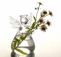 titular da planta de madeira venda por atacado-Anjo de vidro pendurado vaso de decoração para casa decoração de mesa vaso de planta titular