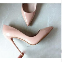 Wholesale Hot Pink Patent Heels - Hot Sales Woman High Heels Pumps New Brand Red Bottom High Heels 12CM Women Shoes pointed Toe Wedding Shoes Pumps Black Nude Shoes Heels