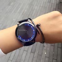 homens vêem luzes led venda por atacado-Relógios de luxo LED Watch PU Leather Ladies Mens Relógios Coloridos Relógios para homens Mulheres Relógios de pulso Student Watch Frete Grátis 442