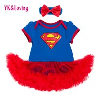 Wholesale Tutu Dresses For Baby Blue - New Style Newborn Dress Baby Short Sleeve Clothes Girls Superman Blue Rompers Ruffle Toddler Tutu Dresses Girl Party Clothes for Birthday