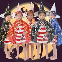 Wholesale Childrens Clothes Free Shipping - Halloween supplies childrens dressing dancers five-star cloak cloak cosplay witch hat clothing props 6 color ATYLE B free shipping
