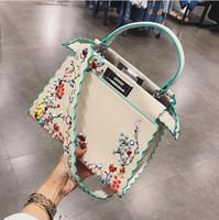 Wholesale Wave Handbag - Women Peekaboo Bag Embroidery Famous Brand Designer Tote Big Handbag Shoulder Bags Printing Rivet Waves Luxury Bags Purse