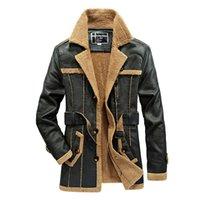 Wholesale Wool Coat Leather Belt - Winter Autumn Men s Clothing Long Leather Jacket Fur Coats Warm Windbreak Waterproof Jackets Belt Many Pockets Brand Clothing Joobox xxxl
