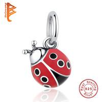 cuentas rojas para collar al por mayor-BELAWNAG Encantador colgante de plata de ley 925 Lindo cuentas de perlas de Ladybug rojo Pandora Charm BraceletsCollares de moda DIY que hace la joyería