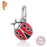 Wholesale Cute Red Heart - BELAWNAG Lovely 925 Sterling Silver Pendant Cute Red Ladybug Charm Beads Fit Pandora Charm Bracelets&Necklaces Fashion DIY Making Jewelry