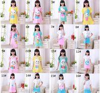 Wholesale nightgown sets - Summer girls dresses kids sleep dress cartoon pattern kids pajamas polyester nightgowns sleepwear clothes 3~12T 20 patterns