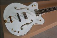 Wholesale gold guitar jazz - Custom G6136LSB White Falcon 4 Strings JAZZ Electric Bass Guitar Ebony Fingerboard Gold Sparkle Body Binding, Ultra Thin Semi Hollow Body