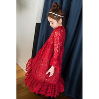 Wholesale Girls Red Falbala - Mothrer and dauther dress lace girls lace hollow falbala sleeve princess party dress women party dress 2017 family autumn clothing T4283
