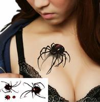 siyah dövme toptan satış-3d su geçirmez geçici dövme çıkartma Siyah Örümcek tasarımlar Flaş Geçici Dövme sahte 1 levha küçük boyun dövmeler Vücut Sanatı