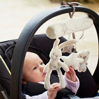 Wholesale Plush Cloth Car Seat - Wholesale- Cute Cartoon Rabbit Musical Baby Toys Bed Crib Car Safety Seat Plush Toy Soft Multifuncational Hanging Rattles Mobile Gifts