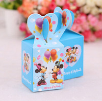 Wholesale Gift Containers For Candy - Wholesale-50Pcs Lot Kawaii Cartoon Micky Minnie Floral Candy Boxes For Birthday Baby Shower Creative Chocolate Container Favors And Gifts