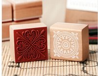 Wholesale New Lace Round Stamp - Wholesale- 6PCS lot New sweet lace series wood round stamp   4*4CM square shape gift stamp   wedding Decoration