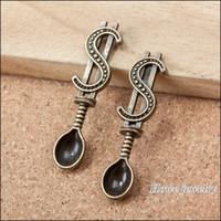 Wholesale Gold Spoon Charm - Wholesale- 70pcs Vintage Charms Spoon Pendant Ancient bronze Fit Bracelets Necklace DIY Metal Jewelry Making A092