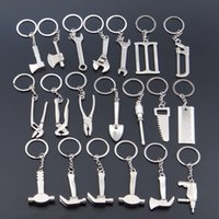 Wholesale Round Ruler - Creative Mini Tools Keychain axe wrench screwdriver hammer ruler shovel 20 styles alloy home garden tools key rings