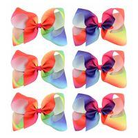 Wholesale Hairclip Hairpin - 6Pcs Lot 6 Inch Large Girl Grosgrain Ribbon Bow Clips Rainbow Hairclip Hairpin New Design Kids Hair Accessories Beautiful HuiLin C107