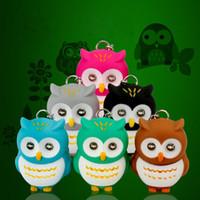 Wholesale Owl Flashlight - Lovely Animal Owl LED Flashlight Keychain Keyring With Sound Toys Kids Birthday Gifts Promotion Souvenir Free Shipping ZA4555