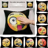 Discount fashion decor pillows wholesale - Hot Fashion Emoji Color Cartoon Throw Pillow Case Cafe Home Decor Car Sofa Office Cushion Cover