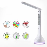 Wholesale Usb Timer Lamp - 2017 DC5V Dimmable Led Desk Lamp 4W USB Battery Charging Table Light with Calendar Alarm Timer Atmosphere Touch Key for Children