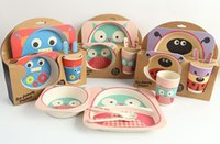 Wholesale Bamboo Counter - Bamboo fiber children 's tableware suit baby dining table counter fork spoon cup bowl cartoon tableware