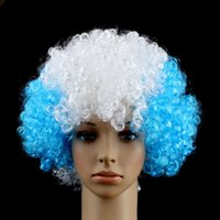 Wholesale Wigs For Carnival - Wig Party Supplies Football Cup Souvenir Hairpiece Multicolor Periwig Carnival Props Gift For Christmas Bardian Fashion 5 5jh C R