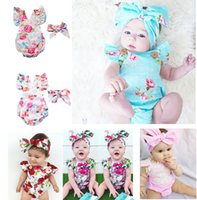 Wholesale Headband Buttons - 6 Styles Infants Baby Girl Floral Rompers Bodysuit With Headbands Ruffles Sleeve 2pcs Set Buttons 2017 Summer INS Romper Suits 0-2 years