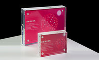 Wholesale Perspex Display Stand - Wholesale- 3.5inch acrylic block countertop display stand frame for card   poster   sign perspex display upright