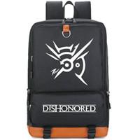 Wholesale shape backpacks resale online - Dishonored backpack Shape fitness daypack Cool player schoolbag Game rucksack Sport school bag Outdoor day pack