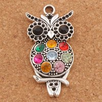 Découverte D'animaux Pas Cher-Colorful Crystal Owl Animal Charms 20pcs / lot Hot Antique Silver Pendants 22x47mm L1598 Jewelry Findings Components