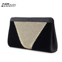 Grossiste en ligne Designer Brand Femmes Clutch Sacs de soirée Black Velvet élégant Ladies Wedding Clutch Wallet avec Gold Sequin Party Bag