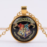 Wholesale Harry Necklace - Wholesale- 2017 Europe and the United States film and television around Potter Harry magic school badge time Crystal Necklace FREE SHIPPING