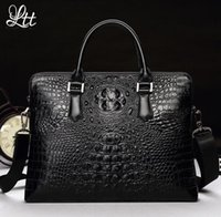 Wholesale Outlet Handbags - outlet brand pack fashion crocodile print business briefcase trendy cross section crocodile leather man handbag multi function laptop bag