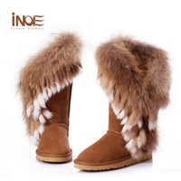 Wholesale women boots rabbit fur - Wholesale- Real Fox Fur Boots Natural Rabbit Fur Womens Leather Furry Winter Boots Shoes Woman Chestnut Knee High Winter Boots Size 9