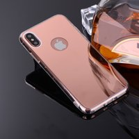 Wholesale Capa Mobile - For iPhone 8 7 7Plus 6 6s Acrylic Mirror Case Soft TPU Mobile Phone Cover For Samsung Note8 S8 Plus Slim Capa Shell