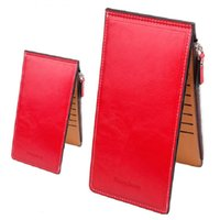 Wholesale Ladies Dressing Purse Green - Women Waxy Ultrathin Leather Long Purse Elegant Card Multi Card Holder Wallets Red Black Orange Black Rose Red Color A342