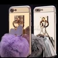For Motorola case ball - For iPhone Plus Mirror Case Soft TPU Case Furry Ball Tassel Fur Ball Case For iPhone iPhone S Plus with OPP Package